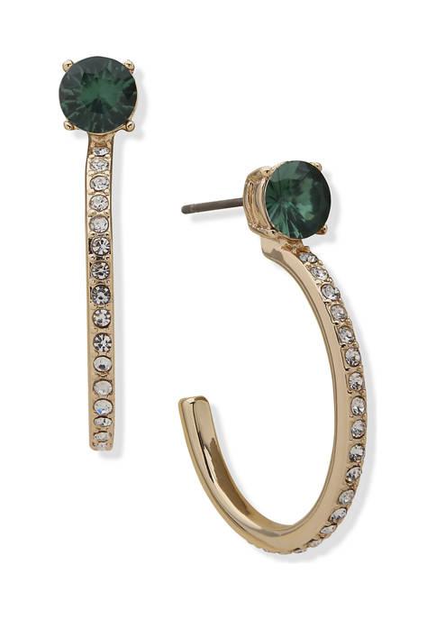 Anne Klein Gold Tone Green Crystal Frontal Hoop