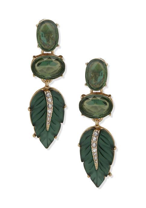 Gold Tone Green Stone Leaf Linear Clip Earrings