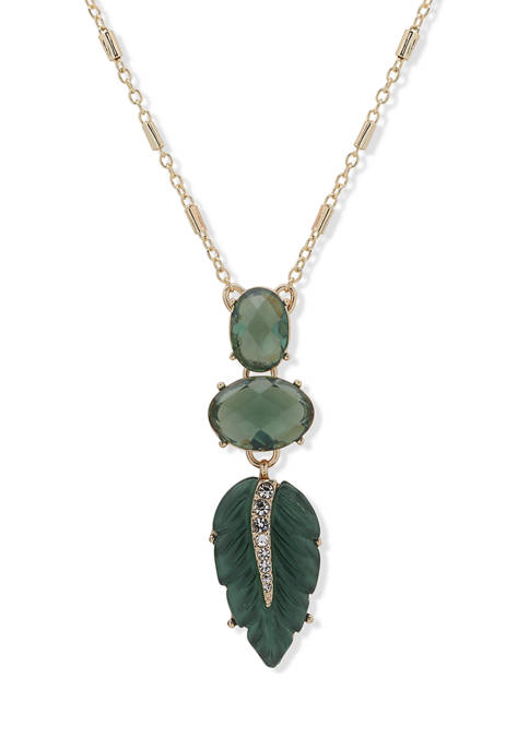 Gold Tone Green 36 Inch Stone Leaf Pendant Necklace