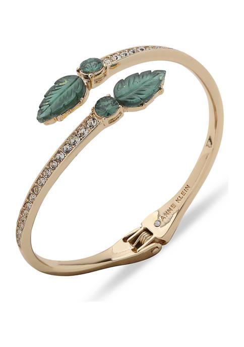 Anne Klein Gold Tone Green Leaf Hinge Bracelet
