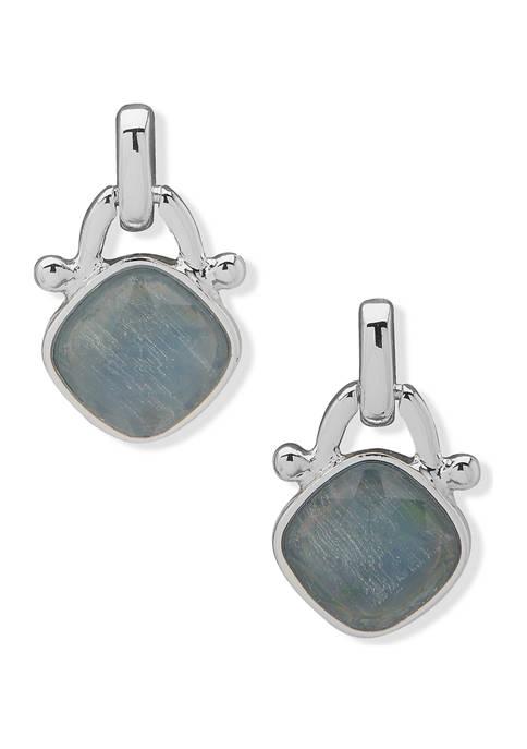 Anne Klein Silver Tone Blue Drop Post Earrings