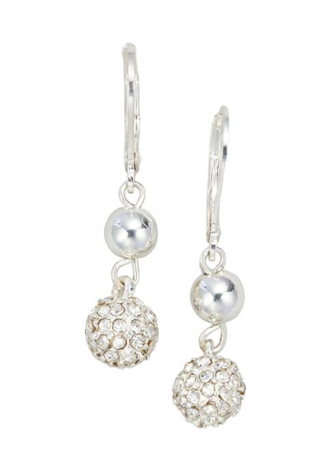 Silver Tone Crystal Lever Back Double Drop Fireball Earrings