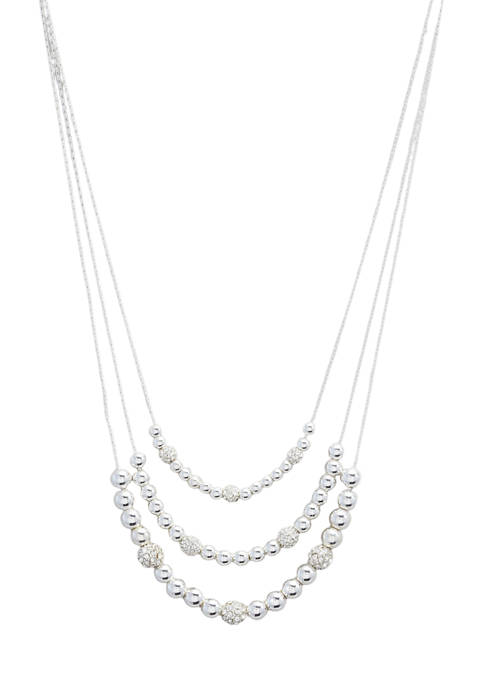 Silver Tone Crystal 16 Inch 3 Row Frontal Necklace
