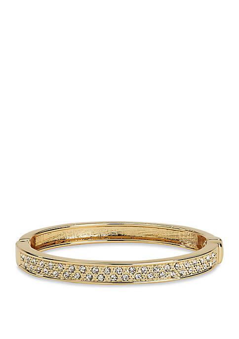 Gold Tone Crystal Bangle Bracelet