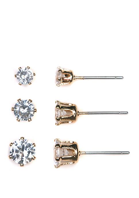 3 Pair Cubic Zirconia Post Earrings Set