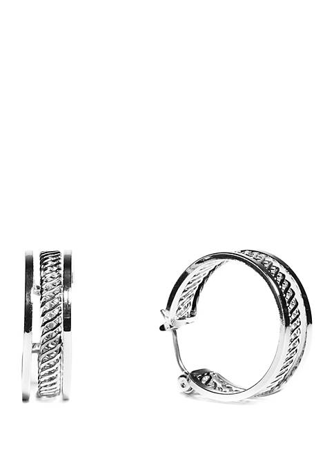 Small Textured Click Top Band Hoop Earrings