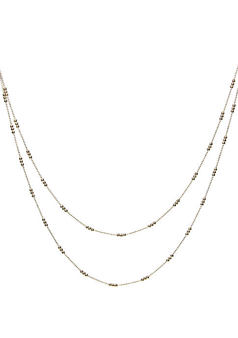 2 Row Shot Bead Station Chain Necklace