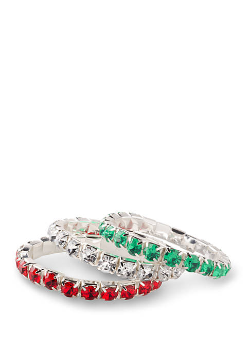 Kim Rogers® Green, Red, and Clear Stretch Bracelet