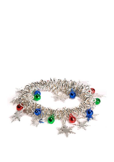 Kim Rogers® Silver Tone Snowflake Charm Bracelet