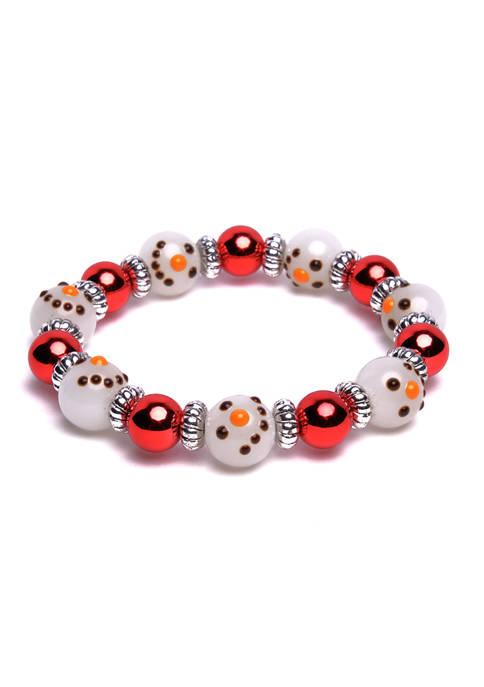 Snowman Heads Beaded Stretch Bracelet