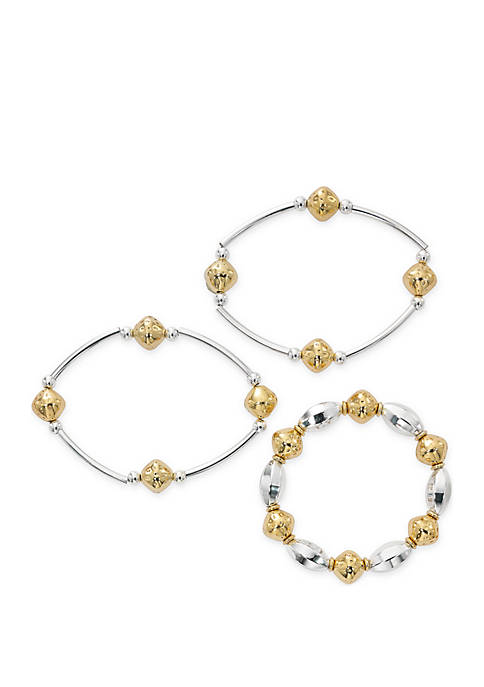 3-Piece 2-Tone Beaded Stretch Bracelet Set