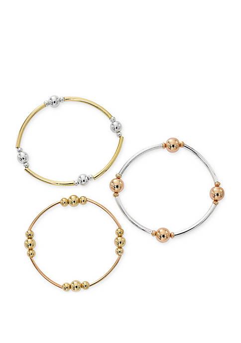 3-Piece 2-Tone Stretch Bracelet Set