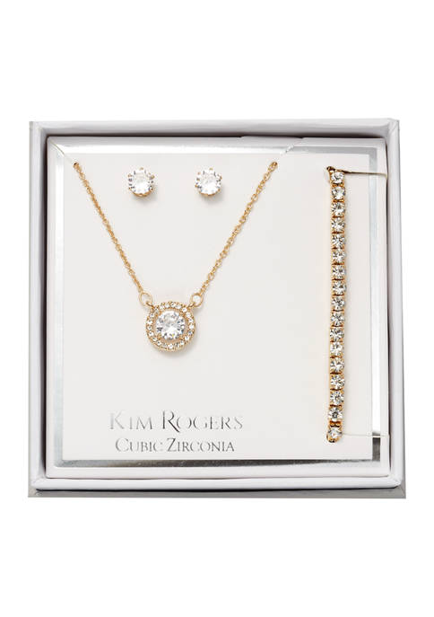Round Cubic Zirconia Earring, Bracelet, and Necklace Set