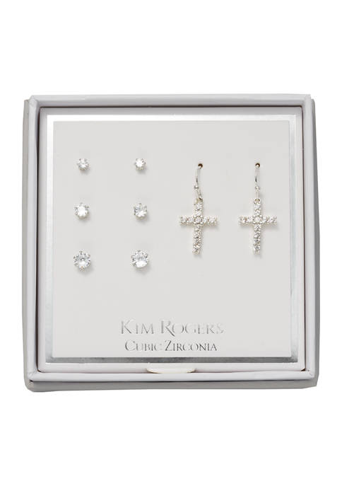 Cubic Zirconia Cross and Stud Earring Set