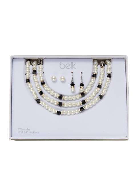 Pearl Necklace, Earring, and Bracelet Set