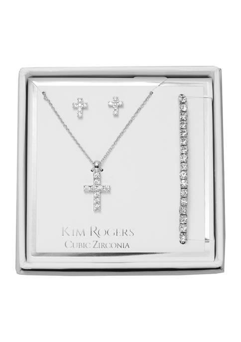 Cross Necklace, Earrings, and Bracelet Set