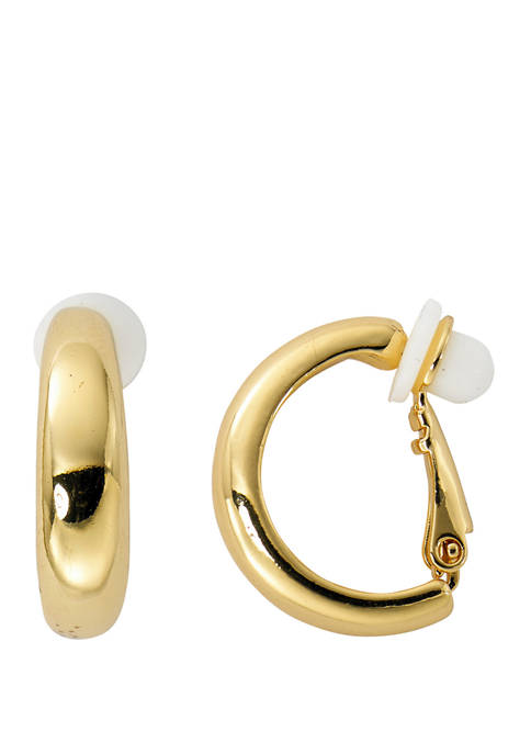 Thick Band C Hoop Clip Earrings