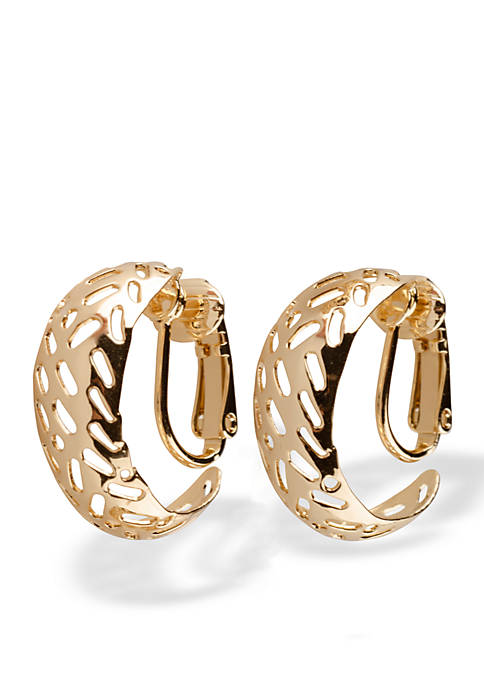 Kim Rogers® Gold-Tone Cut Out Open Clip Earrings