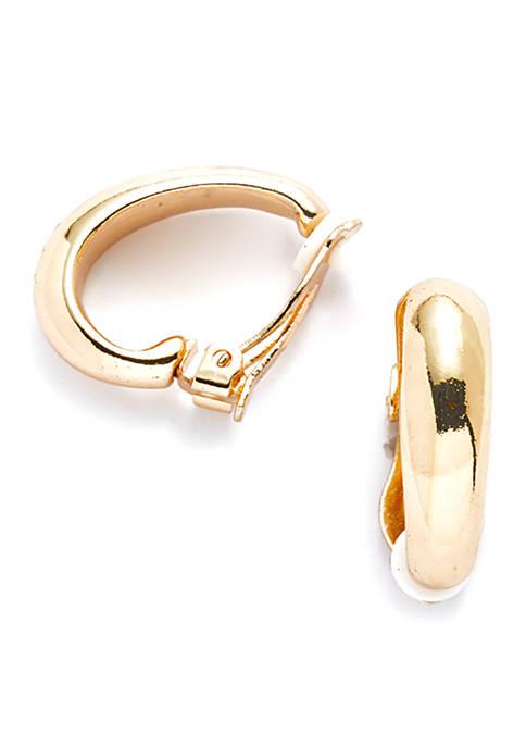 Wide J Polished Hoop Earrings