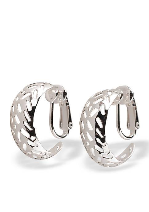 Kim Rogers® Silver-Tone Cut Out Open Clip Earrings