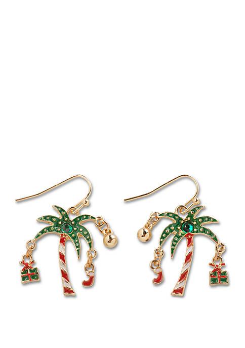 Kim Rogers® Gold Tone Glitzy Palm Tree Earrings