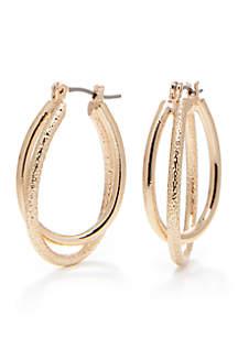 Gold-Tone Sensitive Skin Double Oval Hoop Earrings