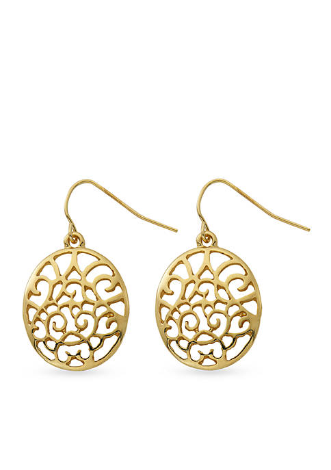 Kim Rogers® Gold-Tone Filigree Oval Drop Earrings