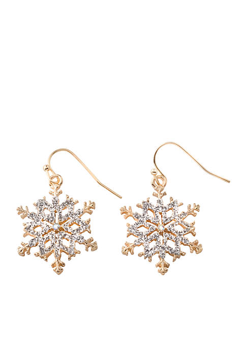 Kim Rogers® Gold-Tone Silver Glitter Snowflake Drop Earrings