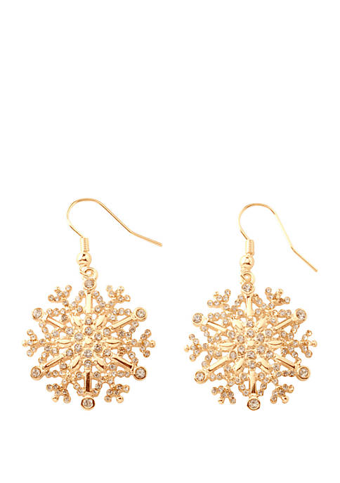 Kim Rogers® Gold Tone Crystal Snowflake Drop Earrings
