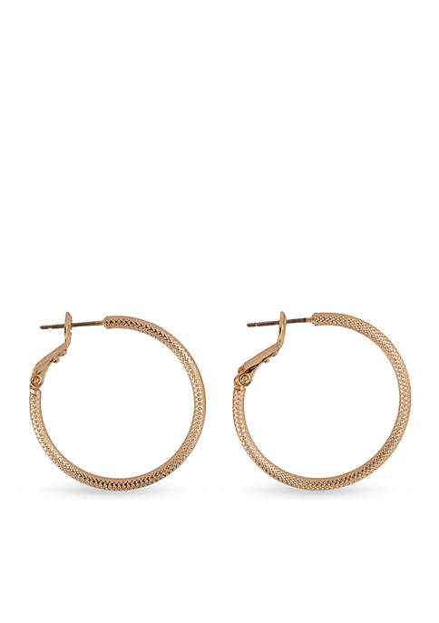 Kim Rogers® Gold-Tone Medium Textured Hoop Earrings