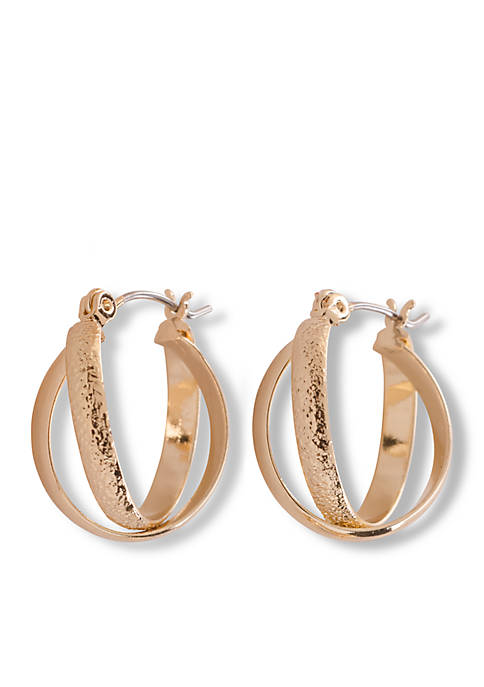 Kim Rogers® Gold-Tone Double Crossed Hoop Earrings