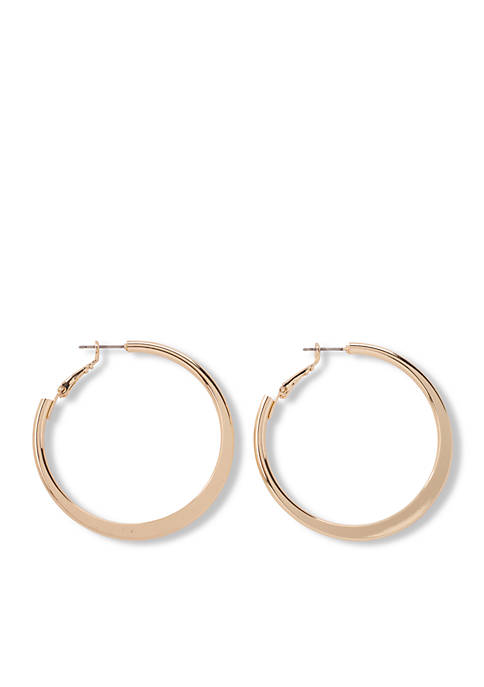 Kim Rogers® Gold-Tone Flat Polished Medium Hoop Earrings