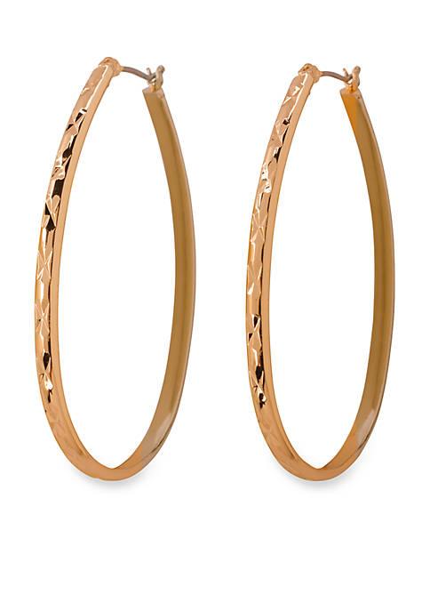 Gold-Tone Large Diamond Cut Oval Hoop Earrings