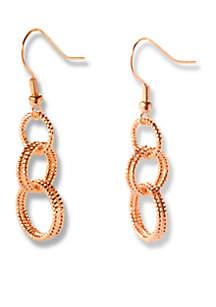 Gold-Tone Interlocked Diamond Cut Ring Drop Earrings