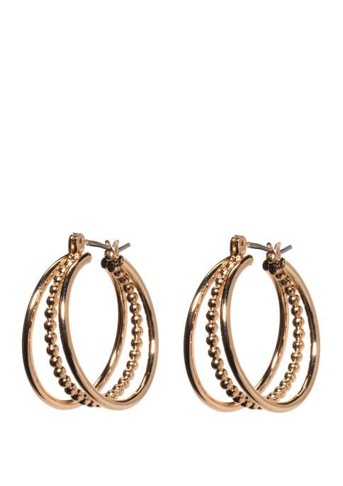 Click Textured Triple Hoop Earrings