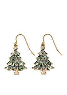 Gold-Tone Glitter and Red Ribbon Tree Drop Earrings