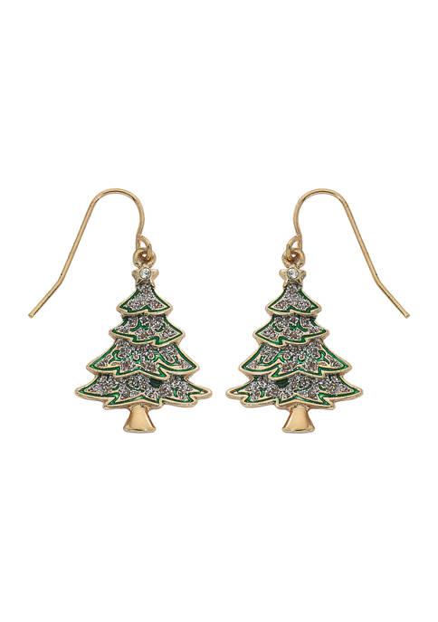 Glittery Christmas Tree Earrings