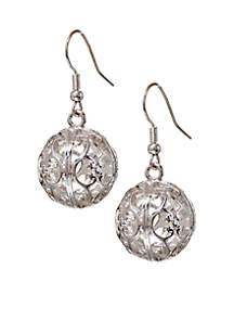 Silver-Tone Sensitive Skin Filigree Ball Drop Earrings