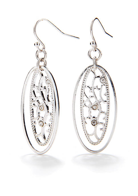 Silver-Tone Sensitive Skin Filigree Drop Earrings