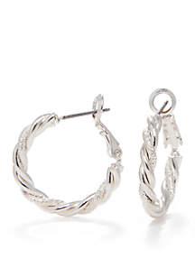 Silver-Tone Sensitive Skin Hoop Earrings