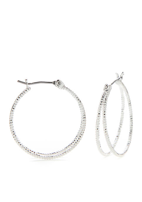 Belk Silver-Tone Split Textured Double Click Hoop Earrings