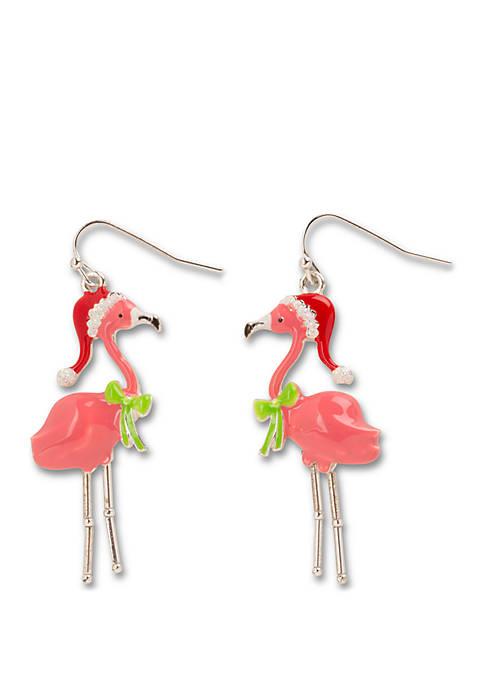 Kim Rogers® Silver Tone Christmas Flamingo Earrings