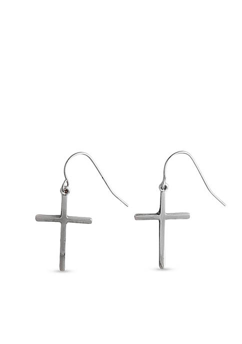 Kim Rogers® Silver-Tone Sensitive Skin Cross Drop Earrings