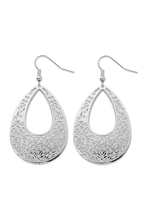 Kim Rogers® Silver Tone Filigree Teardrop Earrings