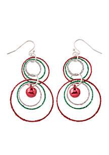 Silver-Tone Interlocked Glitter Rings and Bell Drop Earrings