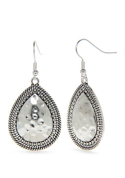Silver Tone Textured Teardrop Earrings