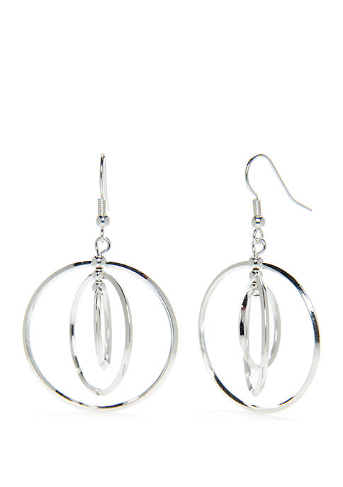 Kim Rogers® Silver Tone Interlock Hoop Earrings
