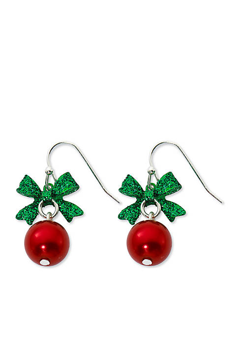 Kim Rogers® Silver-Tone Green Bow Red Ball Drop