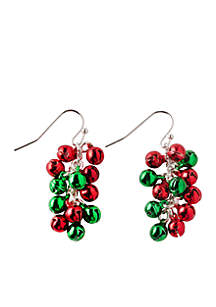 Silver-Tone Red and Green Jingle Bell Cluster Drop Earrings
