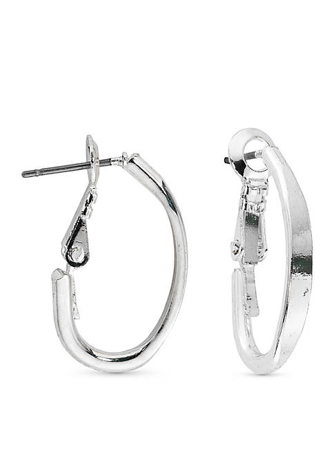 Kim Rogers® Silver-Tone J Hoop Earrings